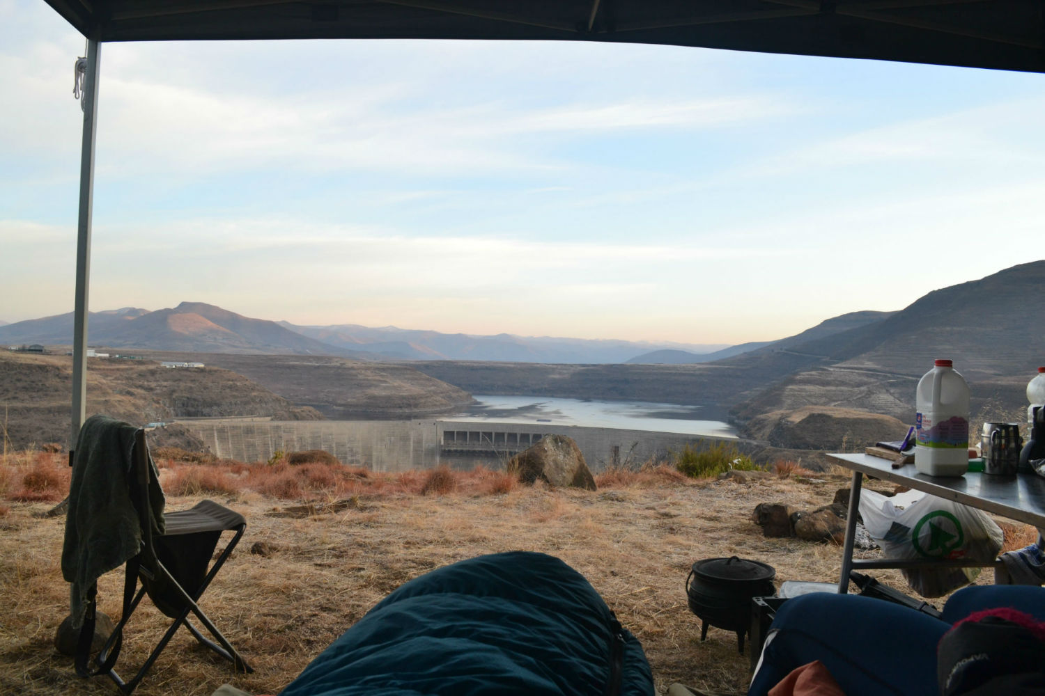 Campsite overlooking Katse Dam, Lesotho with South Africa Overland 4x4 Tours