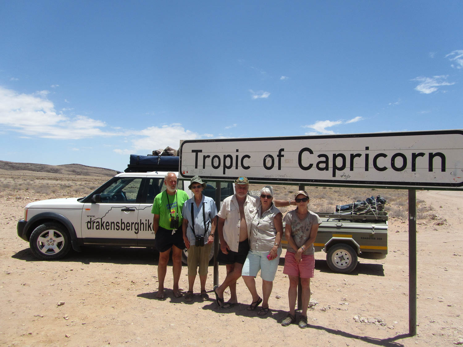 Tropic of Capricorn in the Namibian Desert with South Africa Overland 4x4 Tours